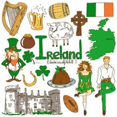 Fun colorful sketch collection of Irish icons, countries alphabet photo