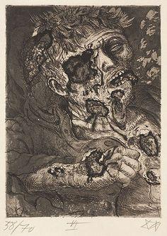 Dying soldier. Der Krieg #26 by Otto Dix.