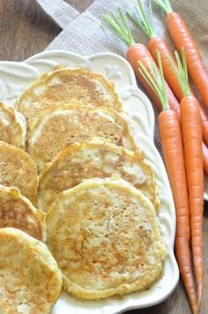 Carrot Pancakes, healthy twist on pancakes, kids love them, fun to make with kids, great spring or fall recipe