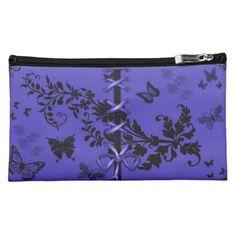 Blue Ribbon Butterfly Pattern Cosmetics Bag