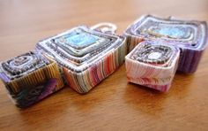 Recycled Magazine Earrings-Purple Squares by junkmagician on Etsy