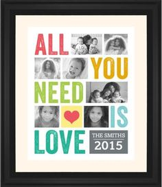 All You Need Is Love Framed Print, Black, Classic, White, Cream, Single piece, 16 x 20 inches