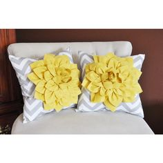 July Two Mellow Yellow Dahlia on Gray and White Zigzag Pillow Chevron... ($64) ❤ liked on Polyvore featuring home, home decor, throw pillows, decorative pillows, home & living, home décor, silver, zig zag throw pillows, grey and white throw pillows and chevron throw pillows