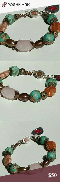 """🌸Boho Style 🌸Medical ID Silver Bracelet Must wear a Medical ID Bracelet but don't you hate those ugly chains?  Check out Esther Destiny's Jewelry's """"LINE of FASHIONABLE QUALITY MEDICAL ID BRACELETS!!""""  This Bracelet is designed with Flower Bead Caps and other beautiful Antique Copper Accents.  The Focal Bead is a Rose Quartz.  The Bracelet also has Turquoise Jasper and gorgeous Persian Agate.  The Clasp is a Sterling Silver box Clasp with an Antique Copper  Accent square on the top…"""