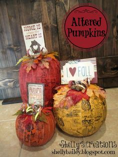 Shelly's Creations: Altered Pumpkins using Canvas, Paint, and Stamps