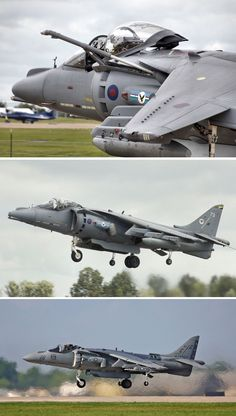 The late great British BAE Harrier II. Top 2 photos is an RAF aircraft from 20 Sqn. Bottom in service with the USMC. United states does not normally buy foreign so there ya go. Air Force Aircraft, Ww2 Aircraft, Fighter Aircraft, Fighter Jets, Military Jets, Military Aircraft, British Aerospace, United States Navy, Royal Air Force
