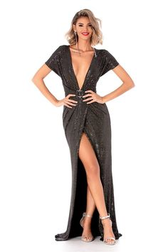 ROCHIE LUNGA DE SEARA CRAPATA PE PICIOR CU DECOLTEU IN V Oprah, Soho, All Things, Cover Up, Jumpsuit, Shopping, Dresses, Women, Silver