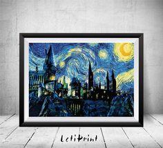Poudlard nuit étoilée Print, impression de Harry Potter, le château de Poudlard Print, Art de Harry Potter, Poudlard Art imprimé, Van Gogh, Art de Poudlard