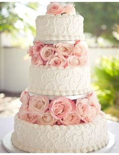 white piping w/pink roses