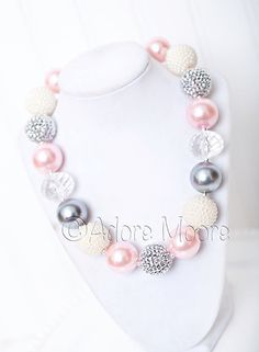 Pretty Pink Pearls, Valentine Chunky Bead Necklace, Chunky Necklace, Chunky Bead Necklace, Kids Necklace by AdoreMooreBoutique on Etsy https://www.etsy.com/listing/158814711/pretty-pink-pearls-valentine-chunky-bead
