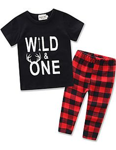 Boys Fashion Suit Kids Letter Printing Short Sleeve Cottom T-shirt Lattice Long Pants Baby Clothing Set