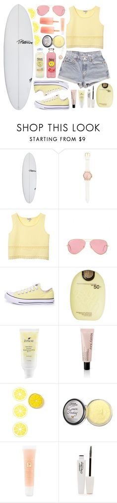 """✿ Pink Lemonade ✿"" by mintymonty ❤ liked on Polyvore featuring T. Patterson, Levi's, Juicy Couture, Ray-Ban, Converse, Sun Bum, Boscia, Mary Kay, Moyana Corigan and Lancôme"