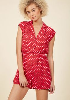 Vintage Rompers and Retro Playsuits Read It and Steep Romper in Red Polka Dot in M $54.99 AT vintagedancer.com