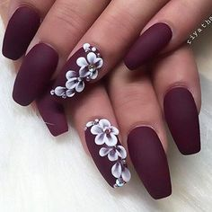 Nails 27 Elegant and Hip Designs for Matte Nail Polish We have compiled a picture gallery of our favorite ideas for matte nail polish that we know you'll love! Matte nails are totally trendy and stunning! Simple Nail Art Designs, Best Nail Art Designs, Acrylic Nail Designs, Acrylic Nails, Matte Gel Nails, Matte Nail Colors, Color Nails, Acrylic Art, Classy Nails