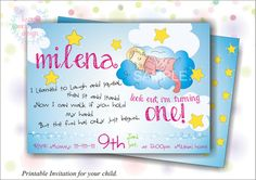 Printable Invitation for First Birthday by HappyMomentsDesign