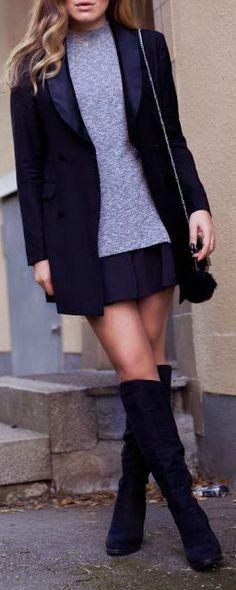 Blazer + mini skirt.
