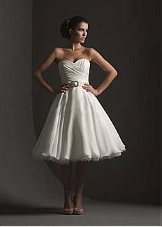 Beautiful A-line Sweetheart Neckline Raised Waist Knee Length Wedding Dress #Dressilyme