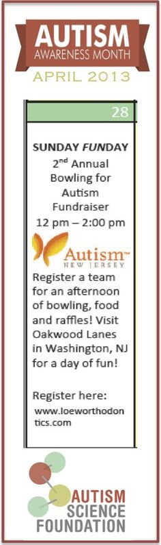 Register a team for an afternoon of bowling, food and raffles! Join Autism New Jersey for their 2nd Annual Bowling for Autism Fundraiser at the Oakwood Lanes in Washington, New Jersey