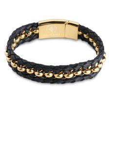 Woven Black Nappa Leather and 18K gold beads Bracelet - Forziani  - 1