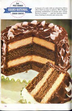 Regency Ribbon Cake, Pillsbury Bake-Off Cookbook, 1955 Bake Off Recipes, Cake Recipes, Dessert Recipes, Desserts, Cake Cookies, Cupcake Cakes, Bake Off Winners, Ribbon Cake, Retro Recipes