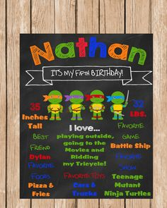 Teenage Mutant Ninja Turtles Birthday Chalkboard by ChalkYourWay Turtle Birthday Parties, Ninja Turtle Birthday, Ninja Turtle Party, Ninja Turtles, Boy Birthday, Birthday Ideas, Mutant Ninja, Teenage Mutant, Ninja Party