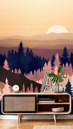 If you want to wow your family and friends with a striking feature wall, then choose this gorgeous Summer Dusk wall mural! With tones of pink, blue and brown, this stunning tree wall mural will bring color as well as a sense of the outdoors in your home! Are you in love with it as much as we are? 😍 #forestwallpaper #livingroominspiration #purplewallpaper #pinkwallpaper Forest Wallpaper, Purple Wallpaper, Room Wallpaper, Tree Wall Murals, What's Your Style, Living Room Inspiration, Designer Wallpaper, Dusk, Pink Blue