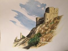 Roccacalascio (AQ) Albania, Watercolors, Monument Valley, Nature, Painting, Travel, Art, Art Background, Water Colors