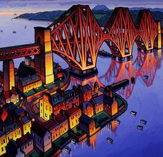 """Jim Edwards and his very bright paintings. Welcome all you Newbies hope you like the pictures. Earth Texture, Bridge Painting, Scotland History, Bright Paintings, Professional Painters, Art Uk, Naive Art, Art For Art Sake, Landscape Illustration"