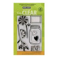 Tampon Clear - Set de 6 tampons - Love Jar - Fleur : 5 x 9,5 cm