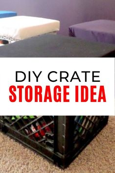 Are toys taking over your home? Check out this cute toy storage stool idea for your living room or small spaces. You can get these cheap crates from craigslist and color them to match your playroom colors or use it as a stool in your kids bedroom. Diy Toy Storage, Storage Stool, Crate Storage, Kids Storage, Storage Ideas, Colorful Playroom, Playroom Colors, Diy Furniture Projects, Diy Wood Projects