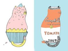 Ohara Hale's cat illustrations include cupcake cat, burger cat and sushi cat. Makes us both hungry and jealous!  http://www.frankie.com.au/blogs/art/ohara-hale-cat-food-portraits