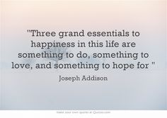 Three grand essentials to happiness in this life are something to do, something to love, and something to hope for.