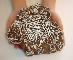 Hand Carved Wood Stamp: Handmade Indian Elephant Wooden Block Stamp, India Decor Art Plaque. $33.00, via Etsy.