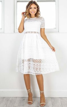 Showpo True Love Way dress in white crochet - 6 (XS) Longer Dresses Godmother Dress, Summer Outfits, Cute Outfits, Cute Prom Dresses, Maxi Styles, Bridal Looks, What To Wear, White Dress, Crochet
