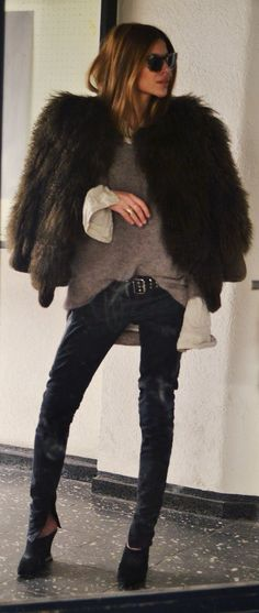 Faux Fur Jacket, distressed black skinny jeans, black booties, oversized sweater