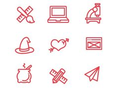 Simple outlined icons