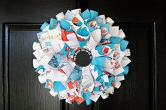 """17 in Dr. Seuss Children's Book Page Wreath - """"Cat in the Hat"""" on Etsy, $32.00"""