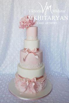 Pink peony  wedding cake&cupcakes by V&M Mkhitaryan Cake Artistry