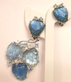 Vintage Signed LISNER Strawberry Brooch / Pin Earrings with Rhinestones Blue | eBay