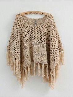 ponchos tejidos a crochet ile ilgili görsel sonucu Crochet Diy, Love Crochet, Beautiful Crochet, Crochet Crafts, Knitted Poncho, Knitted Shawls, Crochet Shawl, Crochet Stitches, Feminine Mode