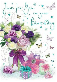 Birthday Card - Female - Just For You Flowers & Presents - Regal Quality NEW Free Happy Birthday Cards, Happy Birthday Greetings Friends, Happy Birthday Wishes Photos, Birthday Wishes Flowers, Happy Birthday Celebration, Happy Birthday Flower, Happy Birthday Friend, Birthday Blessings, Happy Birthday Cake Images