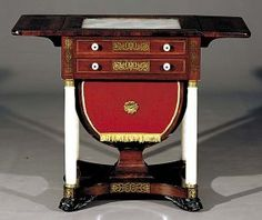 c1830 classical Empire work stand, Boston, USA, mah,brass,alabaster, 07-10.