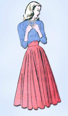1940s Vintage Ballet Length Skirt Unused 1948 Advance Sewing Pattern Sz 24 W