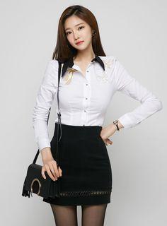 얼짱 모델 정윤의 상큼함 오피스 패션제안 , 검스에 하얀 와이셔츠는 진리임.