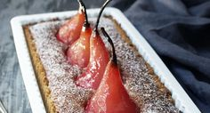 Grenadine poached pear frangipane tart Savour each mouthful of this delicious sweet treat