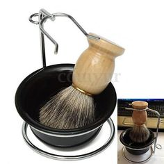 Men's #shaving kits black wood #brush handle badger hair #brush + stand + #bowl/mu,  View more on the LINK: http://www.zeppy.io/product/gb/2/162128770479/