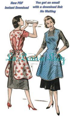 Free Full Apron Patterns | Vintage Full Apron 50's PDF Pattern No 22 by laprairielady on Etsy
