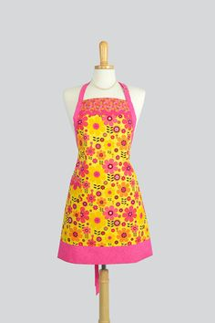 hot pink and yellow floral summer apron