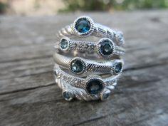 Judith Ripka Sterling Silver London Blue Topaz Ring by KATBILU