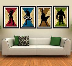 The 4 Avengers superhero  Captain america Hulk by FashionArtStudio